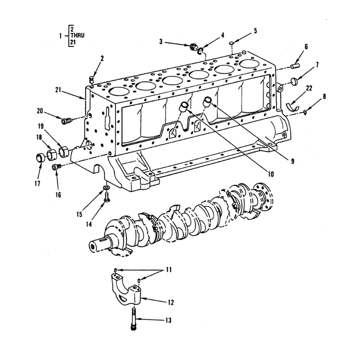 0003 00-2 Figure 2. Crankcase, Block, and Cylinder Head – Diesel ...