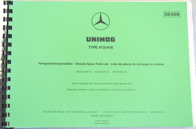 416 / 413 Chassis Parts Manual