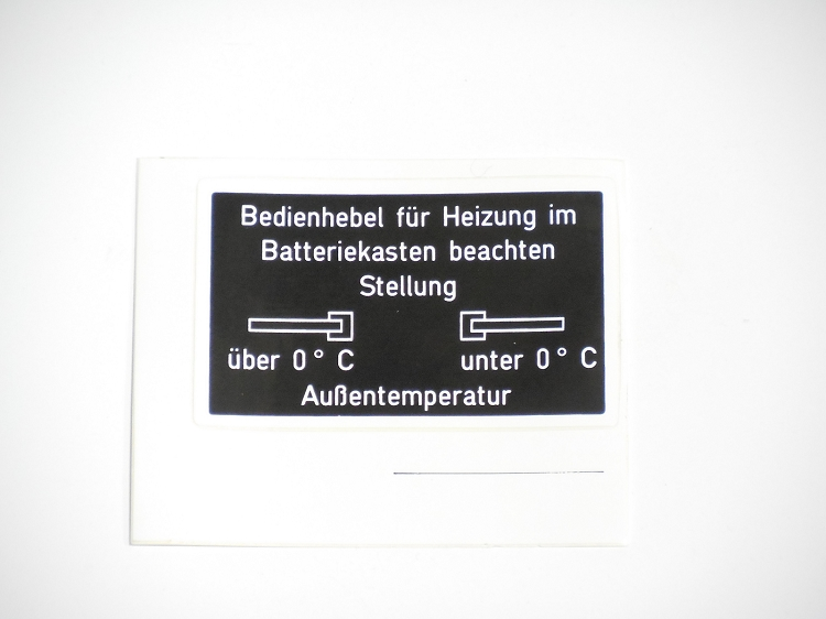 Battery Box Heater Valve Sticker