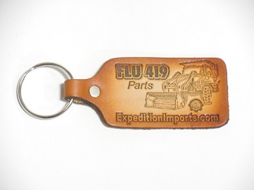Leather Stamped Unimog FLU 419 Key Chain - With Key - SEE
